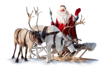 Santa with reindeer and sleigh