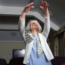 Elderly lady stretching