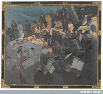 Wounded sailors listening to music onboard ship
