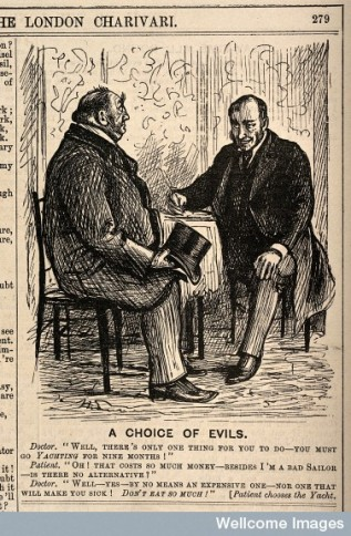 'A choice of  evils' wood engraving, 1888.